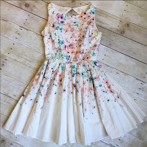 LC Lauren Conrad White Watercolor Print Midi Dress